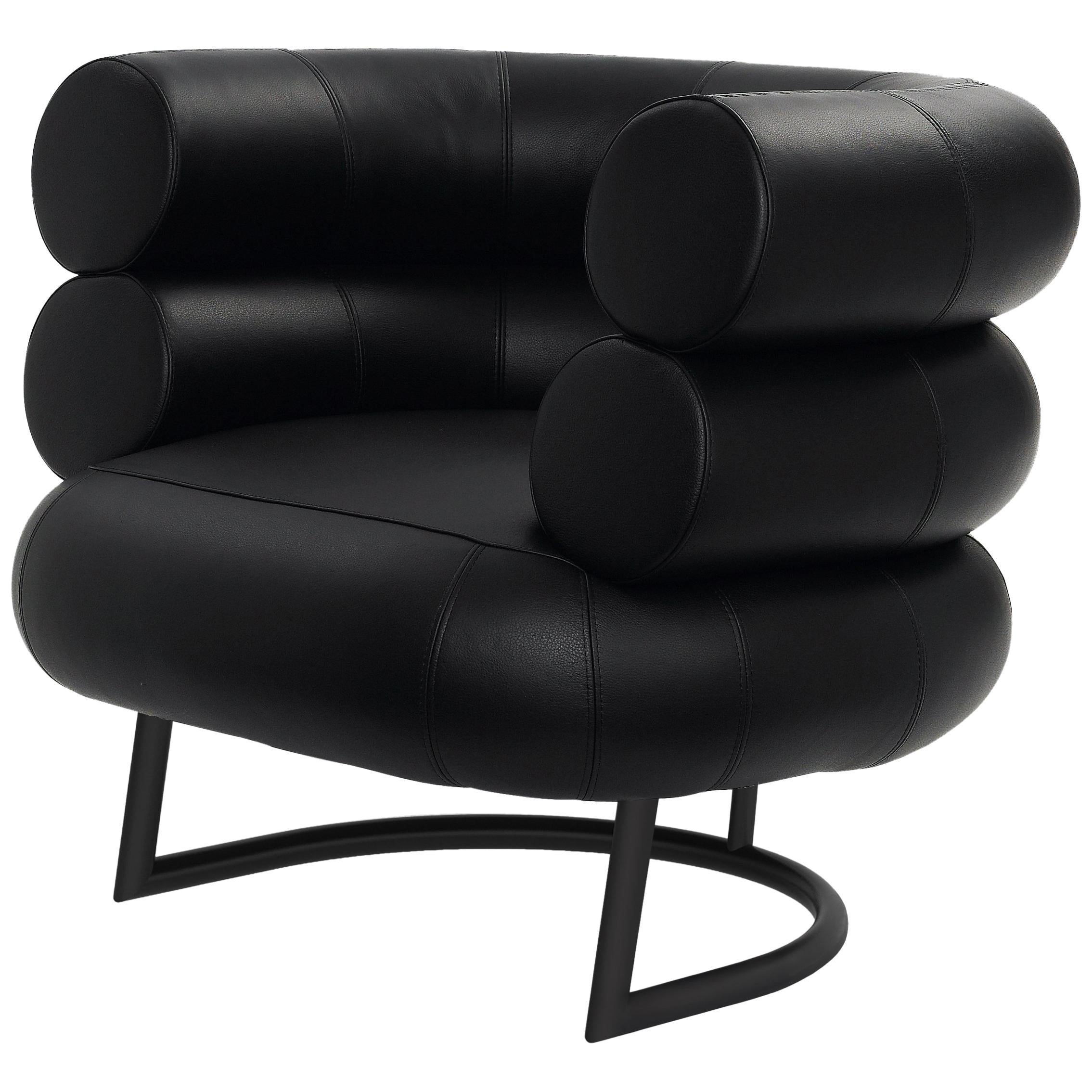 Beau ClassiCon Bibendum Armchair In Black Leather With Black Base By Eileen Gray