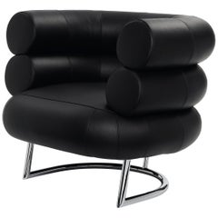 ClassiCon Bibendum Armchair in Black Leather with Chrome Frame by Eileen Gray