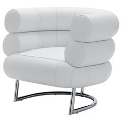 ClassiCon Bibendum Armchair in Leather White with Chrome Frame by Eileen Gray