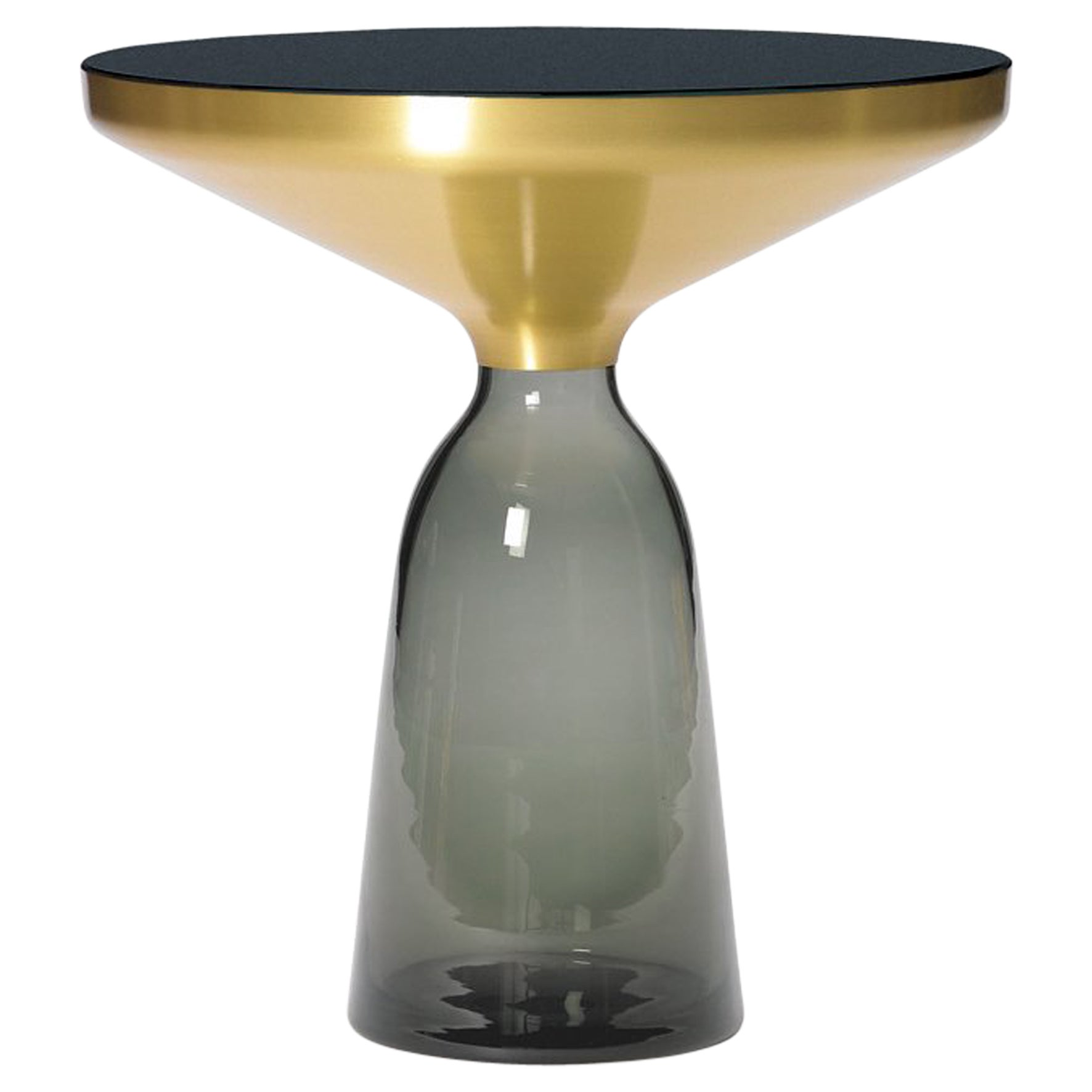 ClassiCon Bell Side Table in Brass and Quartz Grey by Sebastian Herkner