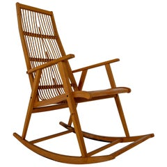 Midcentury Vintage Rocking Chair in Beechwood and Straw, Germany, 1960s