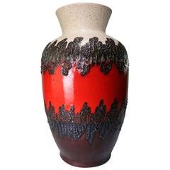 Large Midcentury Blood Red, Black, Brown Floor Vase by Bay Keramik, 1960s