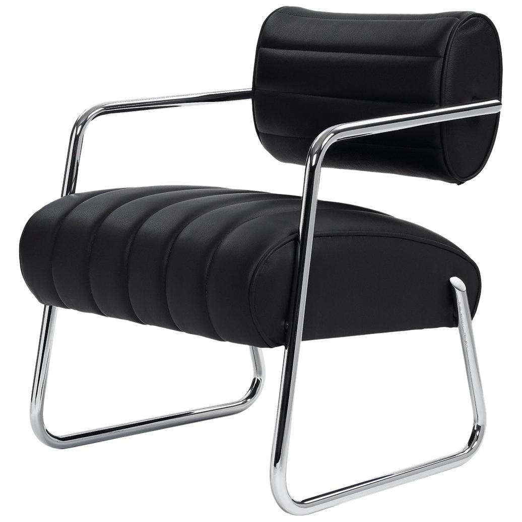 ClassiCon Bonaparte Chair in Black Leather by Eileen Gray