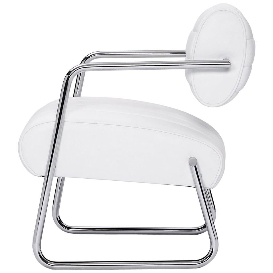 ClassiCon Bonaparte Chair in White Leather by Eileen Gray
