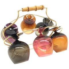 Six Cognac Snifters Glasses on Mid-Century Modern String Wire Caddy Barware