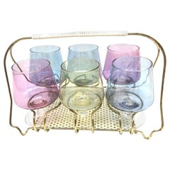 Six Barware Cognac Snifters Glasses on Mid-Century Modern String Wire Caddy