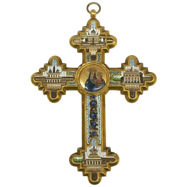 Grand Tour Brass Micro Mosaic Cross, Italy For Sale