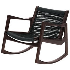 ClassiCon Euvira Rocking Chair in Brown with Black Cord by Jader Almeida