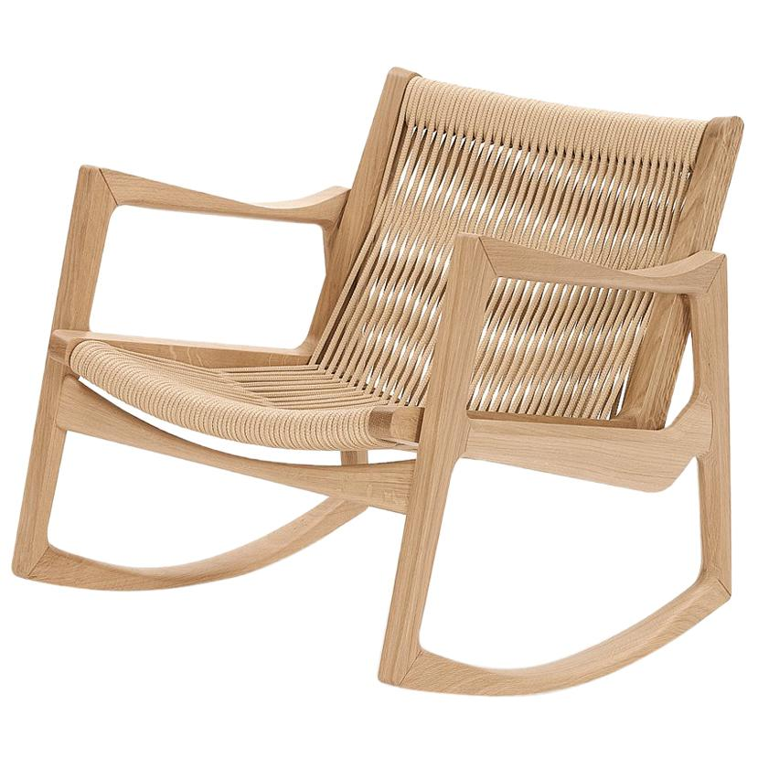 ClassiCon Euvira Rocking Chair in Oak with Hemp-Colored Cord by Jader Almeida