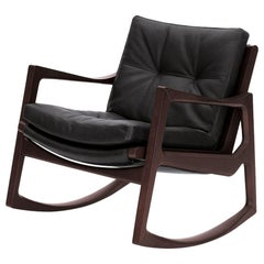 ClassiCon Euvira Rocking Chair in Stained Oak and Black Leather by Jader Almeida