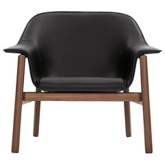 ClassiCon Sedan Armchair in Black Leather and Walnut by Neri&Hu