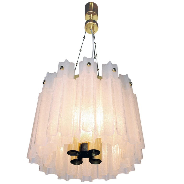 Frosted Glass Chandelier by Glashuette Limburg, 1960s  For Sale