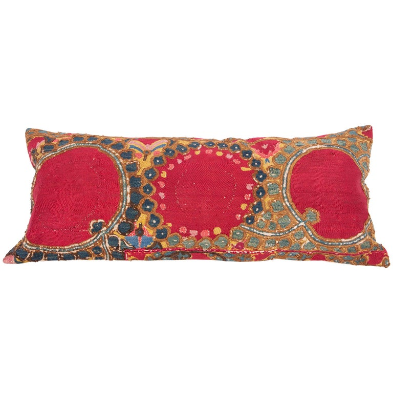 Antique Suzani Pillow/Cushion Cover Fashioned from 19th Century Suzani For Sale