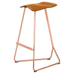 ClassiCon Triton Bar Stool in Copper Plated & Leather Seat by Clemens Weisshaar