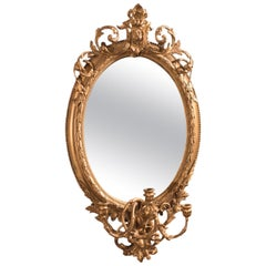 Late 18th Century Antique Girandole Gilt Gesso Mirror