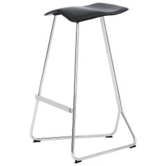 ClassiCon Triton Bar Stool in Black Leather with Chrome by Clemens Weisshaar
