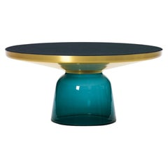 ClassiCon Bell Coffee Table in Brass and Montana Blue by Sebastian Herkner