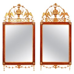 Pair of Late 18th Century Walnut and Giltwood Mirrors, Probably, Italy