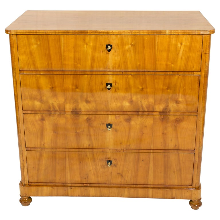 19th Century Biedermeier Cherrywood Chest of Drawer For Sale