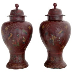 Chinoiserie Lidded Vases, Probably Berlin, Early 19th Century