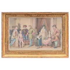 """Framed watercolour, """"Costume ball scene"""", circa 1850"""