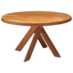 Pierre Chapo 'Sfax' Round Dining Table in Solid Elm