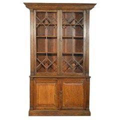 Late 19th Century Solid Oak Two-Part Bookcase of Good Proportions