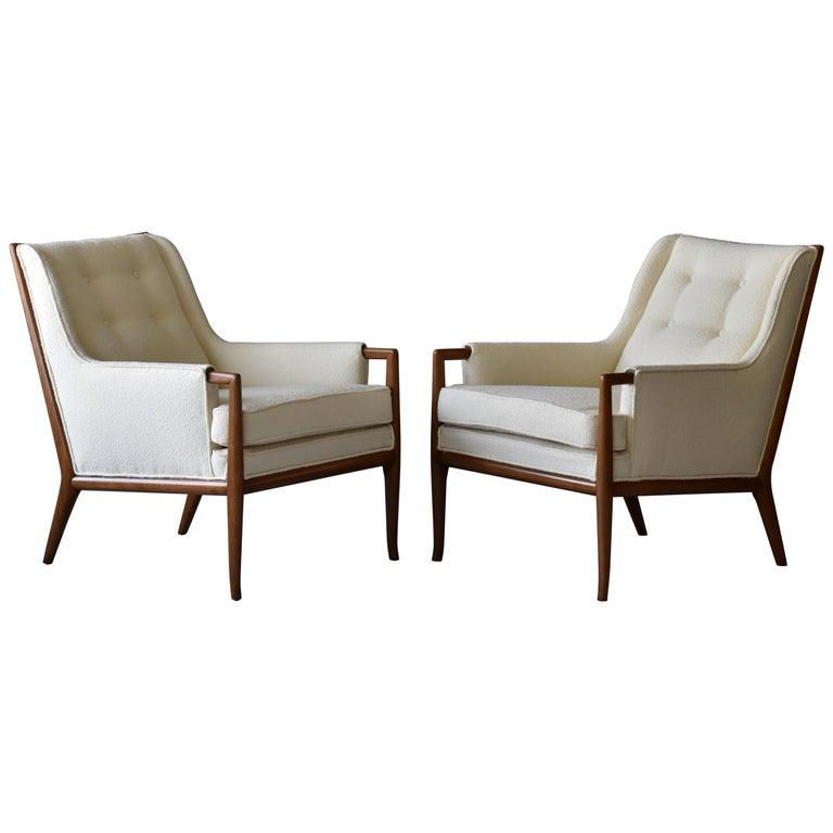 T.H. Robsjohn-Gibbings, Rare Lounge Chairs, Walnut, Off-White Fabric, Widdicomb For Sale