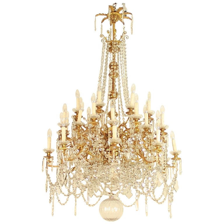 Regency Style 36-Light Gilt-Bronze and Crystal-Cut Chandelier, circa 1860 For Sale