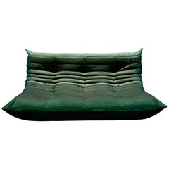 Togo 3-Seat Sofa in Green Velvet by Michel Ducaroy for Ligne Roset
