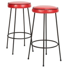 2 Bar Stools Red Leather Italy, 1950s