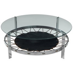 Chrome Coffee Table with Glass Top and Spanned Leather