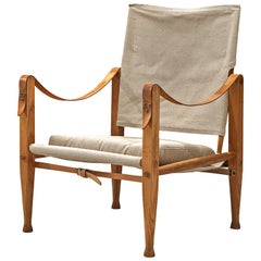 Kaare Klint Safari Chair with Undyed Linen Drill and Leather Armrests