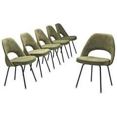 Eero Saarinen Set of Six Chairs in Moss Green Suede