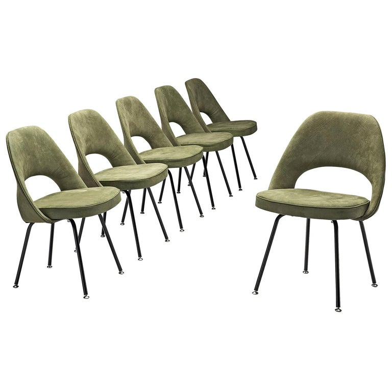 Eero Saarinen Set of Six Chairs in Moss Green Suede, 1948, MORENTZ