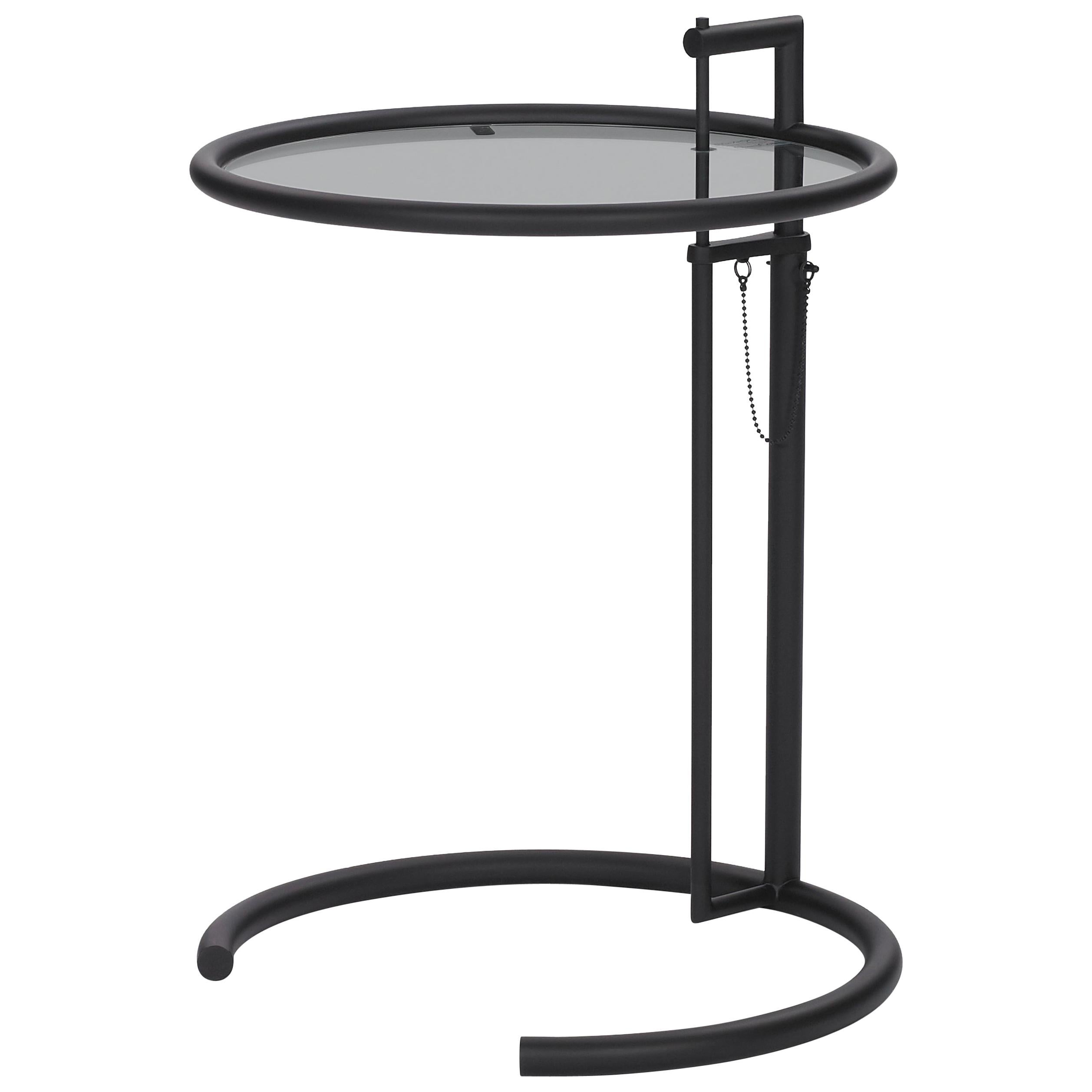 ClassiCon Adjustable Table E 1027 in Black and Smoked Glass by Eileen Gray