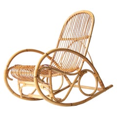 Midcentury Modern Curved Bamboo Couple of French Rocking Chairs, France 1970