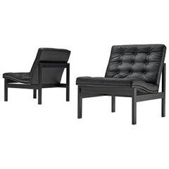 Gjerløv-knudsen and Lind All Black Moduline Slipper Chairs