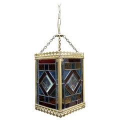 Victorian Colored Glass and Brass Hall Lantern