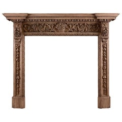 Ornate Pine Fireplace with Carving Throughout