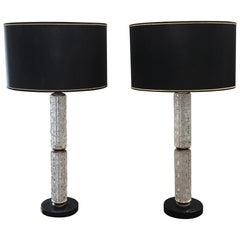 Pair of Italian Crystal Lamps Sitting on a Marble Base Attributed to Mazzega