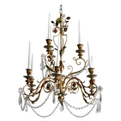 Late 1800s Italian Florentine Nine-Arm Chandelier