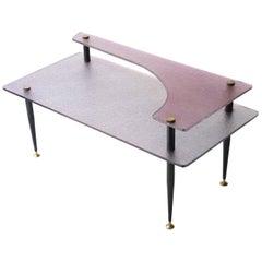 Angelo Ostuni Midcentury Modern Pink Black Metal Glass Italian Center Table,1950
