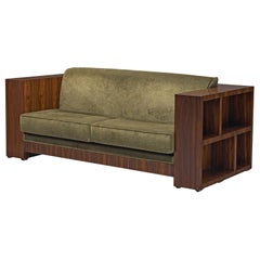Italian Reupholstered Basket Sofa with Rosewood