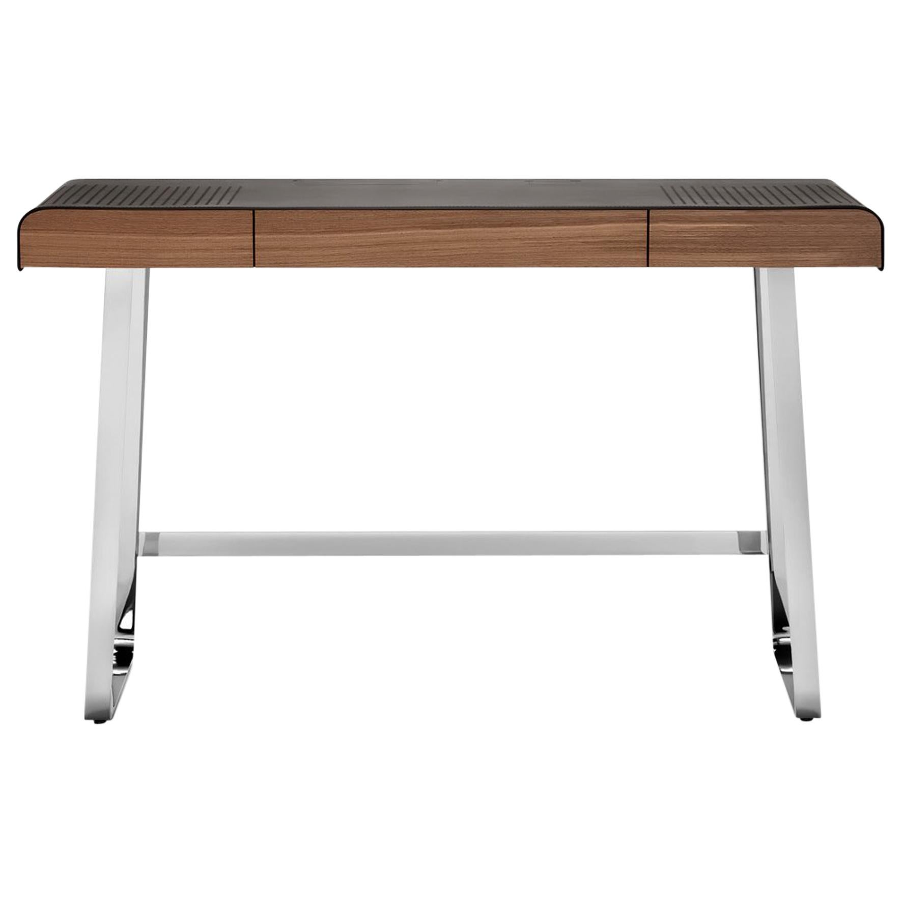 ClassiCon Pegasus Desk in Walnut with Chrome by IF Group & Tilla Goldberg