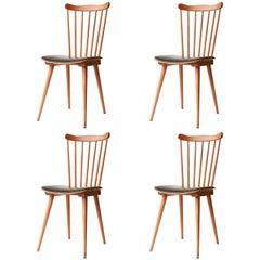 Baumann Midcentury Modern Velvet Teak Set of Four French Chairs, France, 1950