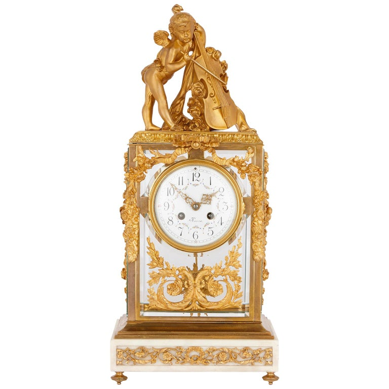 Neoclassical Style Gilt Bronze Mounted Glass and Marble Mantel Clock  For Sale