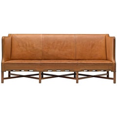 Kaare Klint Sofa Model 4118 in Mahogany and Original Cognac Leather