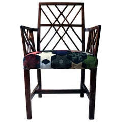 George III Chinese Chippendale Mahogany & Velvet Upholstered Cockpen Armchair