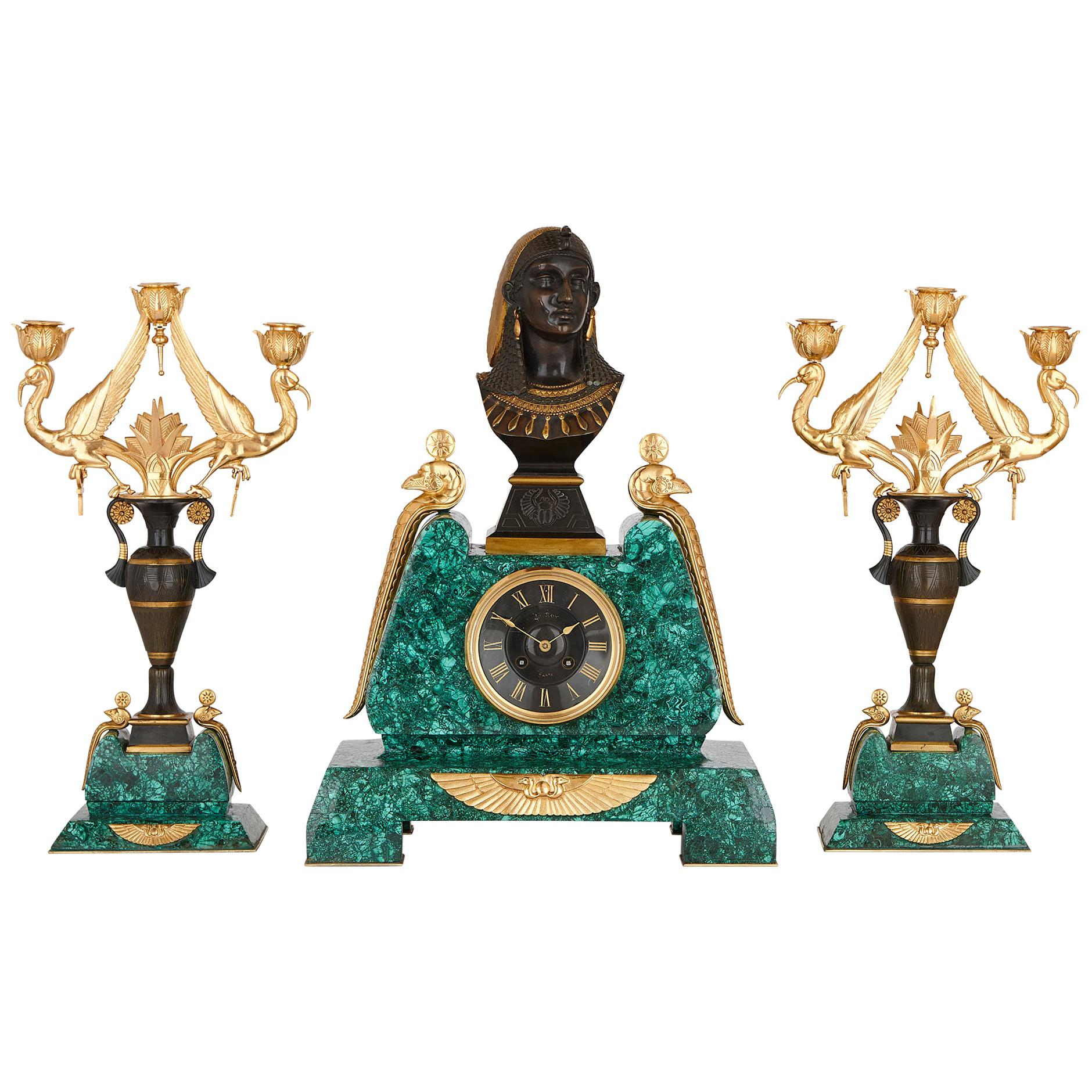 Egyptian Revival Malachite, Marble, Gilt and Patinated Bronze Clock Set